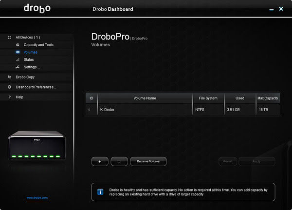 Drobo Dashboard Volumes