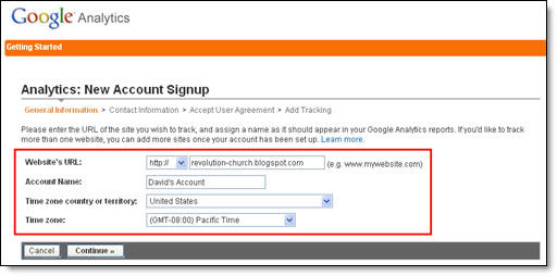 Google Analytics Blogger Step 2