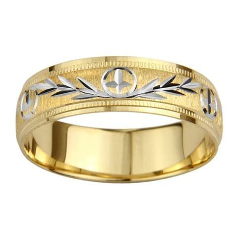 Shop 14k Gold Men's Milligrain Cross and Leaf Design