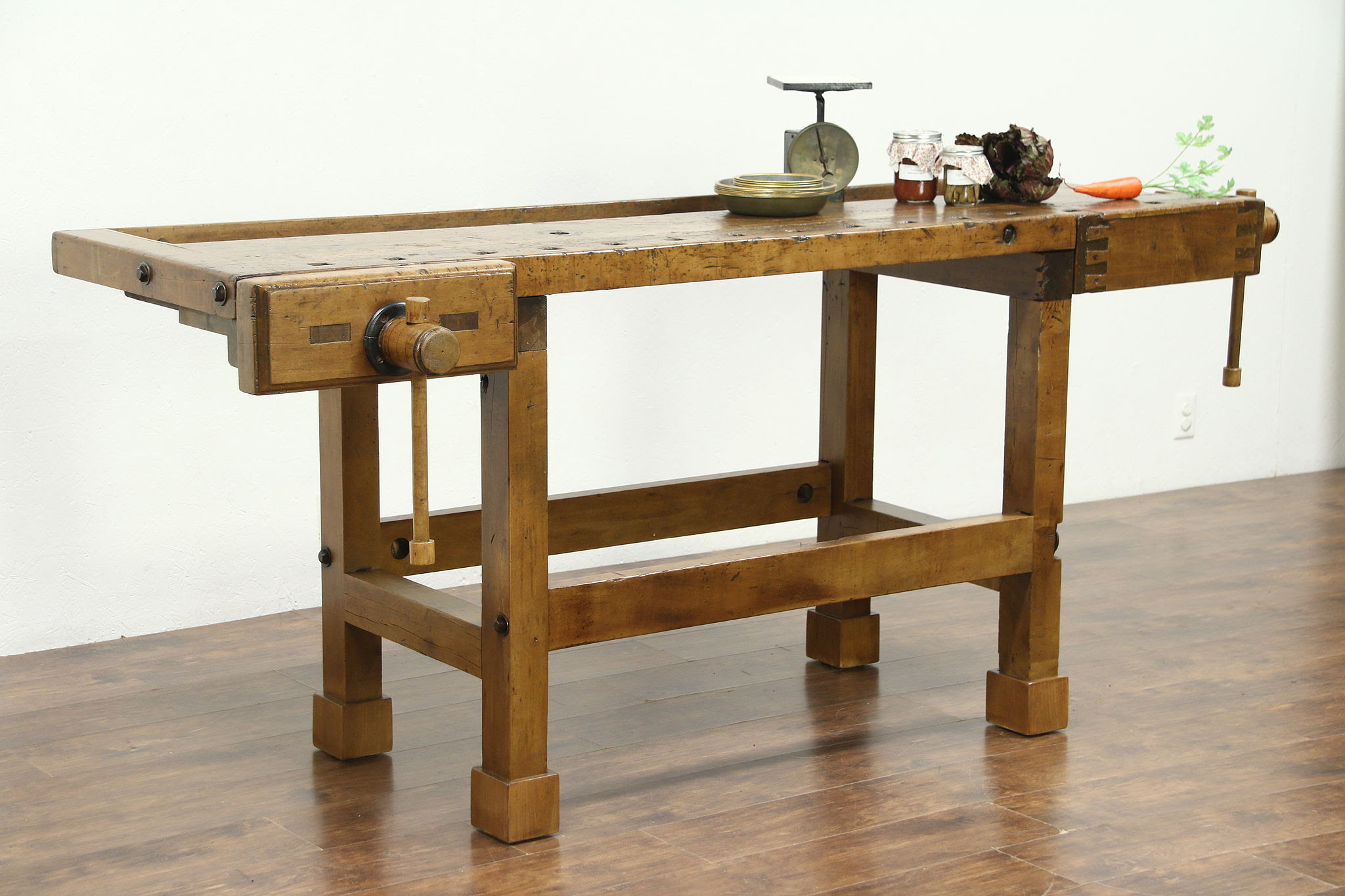 Sold Carpenter Salvage Antique Workbench Kitchen Island Or Wine Cheese Table Harp Gallery Antiques Furniture