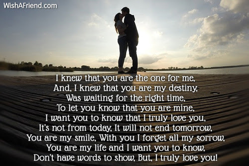 You Are The One I Love You Poem