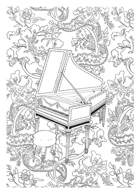 Coloriage Anti Stress Fete De La Musique Clavecin 4