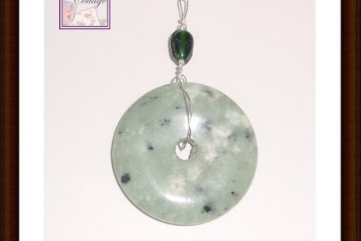 Kiwi Jasper Wire Wrapped Pendant With Green Glass Bead, Silver