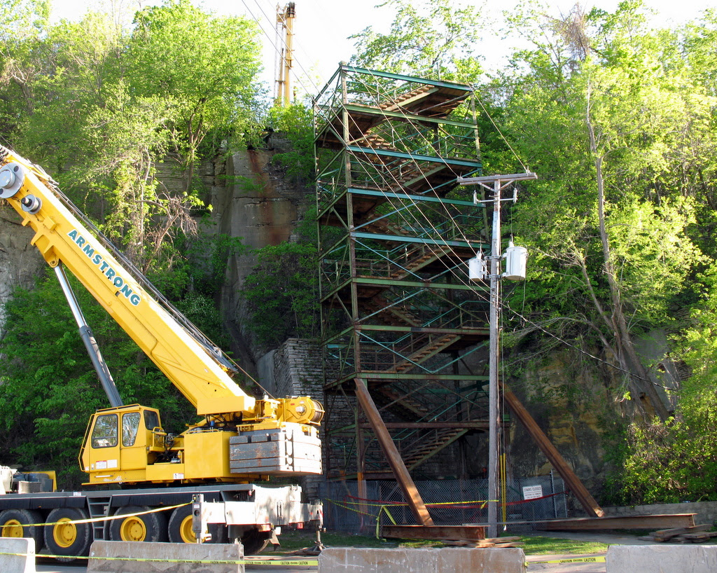 the historic green stairs in St Paul are in the process of being dismantled