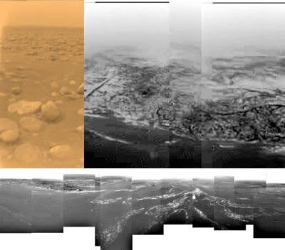 Three images/mosaics taken by the Huygens probe on Titan.