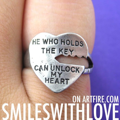 Love Quote Key Ring Silver He Who Holds The Key Can Unlock My