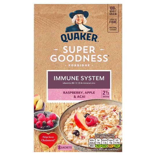 Quaker Oat Super Raspberry Acai Apple Porridge 8X35.6G
