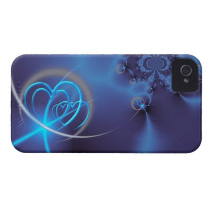 Blue Fractal with Neon Hearts iPhone 4 Cases