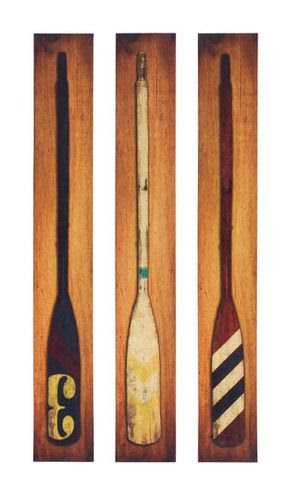 Primitive Lodge Nautical Rowing Sea LARGE BOAT OAR WALL ART Canvas Picture Set