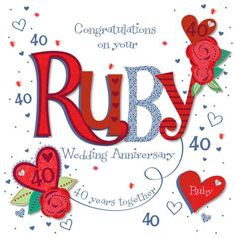 Handmade Ruby 40th Wedding Anniversary Greeting Card   Cards