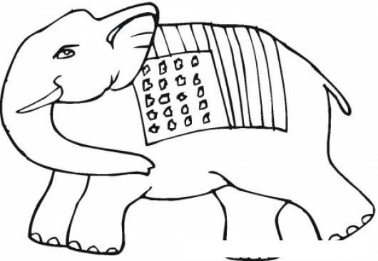 Dibujo De Elefante Con La Bandera De Estados Unidos Para Pintar Y