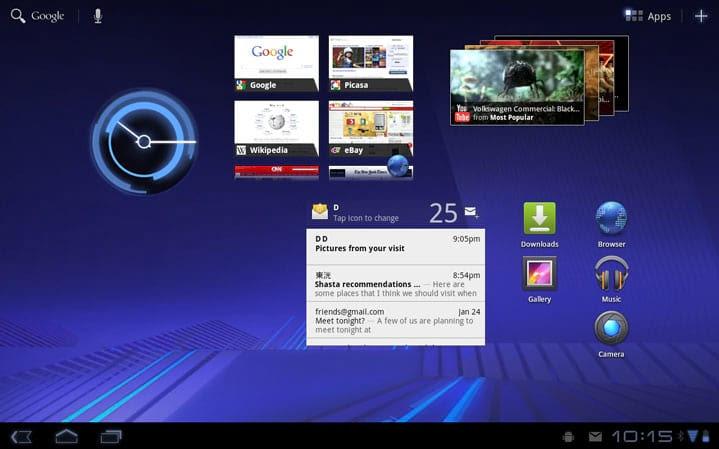 Android 3.0 rodando em um tablet Motorola Xoom