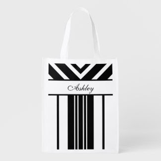 Black and White Stripes Chevrons with Your Name Market Totes
