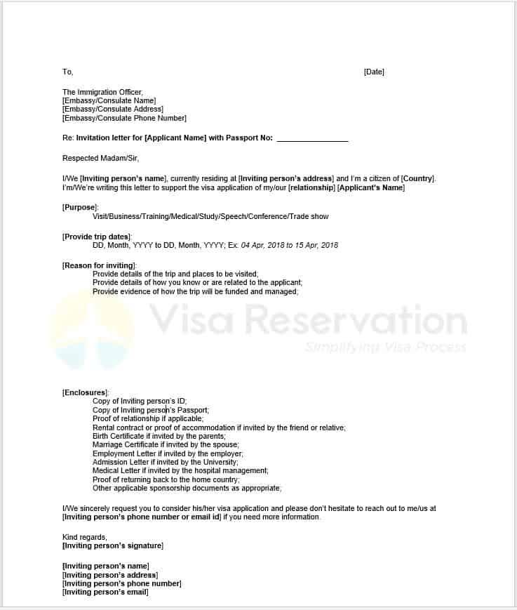 Invitation Letter For Schengen Visa Letter Of Invitation