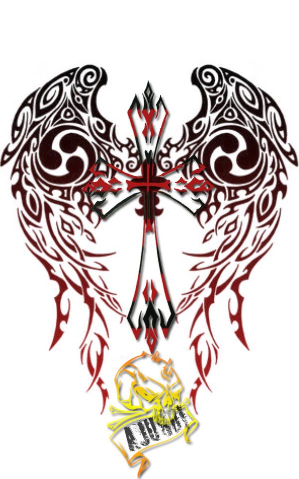 Beautiful Color Tribal Cross Tattoo Design