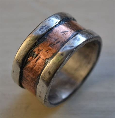 Mens wedding band   rustic fine silver and copper