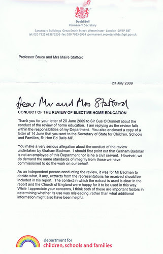 letter from David Bell 1
