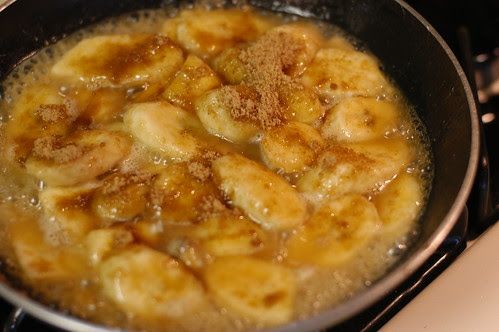 warm sauteed bananas