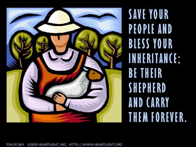 Inspirational illustration of Psalm 28:9