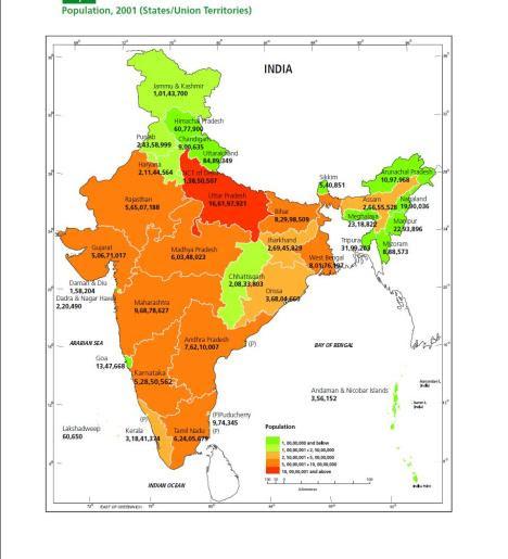 indias population map 2001 image