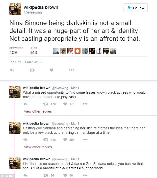 Dozens of people blasted director Cynthia Mort and Saldana for the casting, saying it was disrespectful to darken the actress' face to play Simone