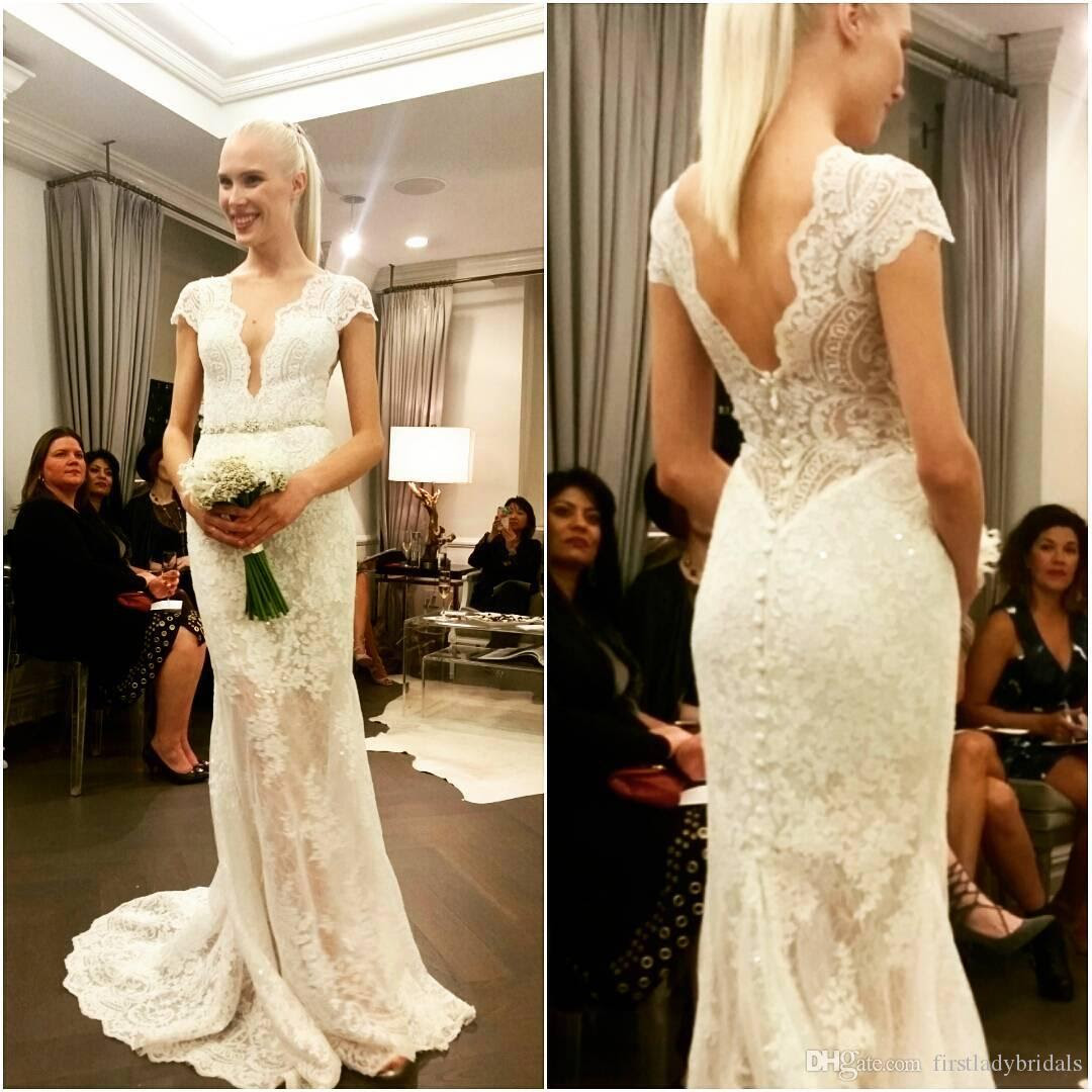 2017 deep plunge wedding dresses lace cap sleeves sexy v