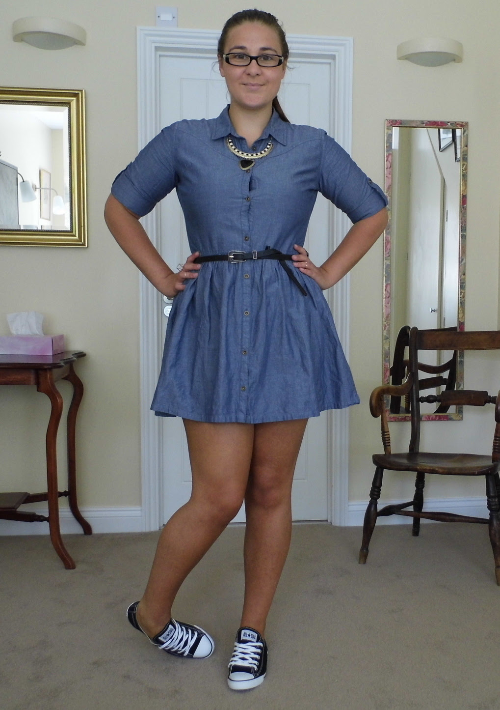 Chambray Denim Shirt Dress & Converse 2