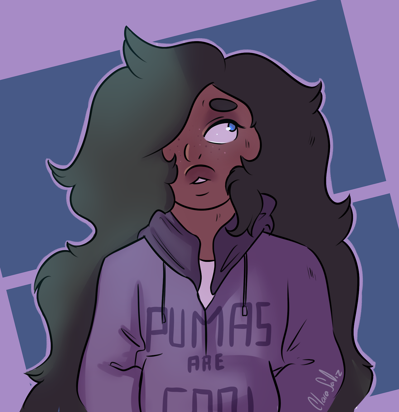 """""""Pumas are cool"""" A little doodle of human Amy. Drawing her always relaxes me"""