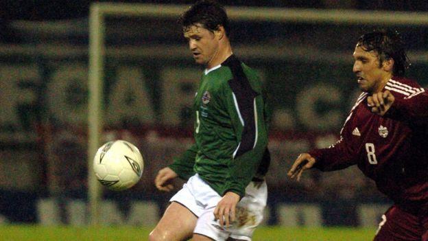 Philip Mulryne playing for Northern Ireland