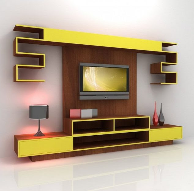 contemporary yellow mixed brown tv unit 634x624 15 Amazing TV Units that Demonstrate Stylish Trends