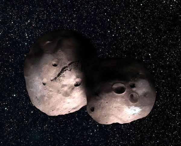 An artist's concept of 2014 MU69, New Horizons' next flyby target in early 2019, as a binary object.