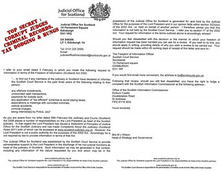 Judicial Office for Scotland refusal to disclose criminal records etc of judges