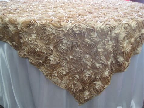 champagne rosette satin overlays  tablecloths