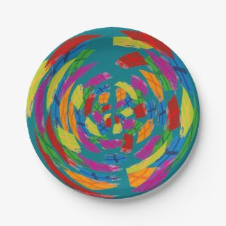 Modern Art Paper Plates 7 Inch Paper Plate