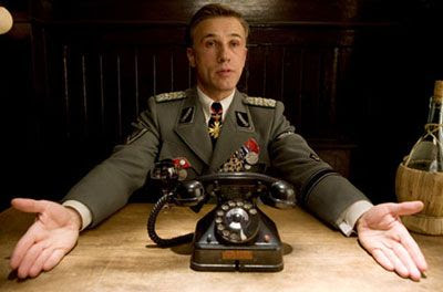 Nazi SS officer Hans Landa (Christoph Waltz) is charismatic but sinister in INGLOURIOUS BASTERDS.