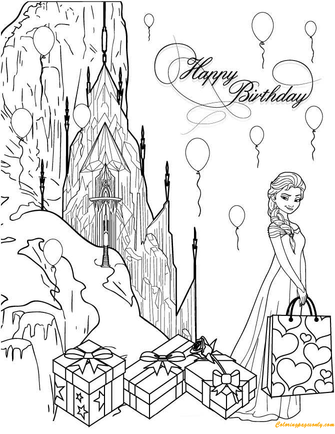Happy Birthday Elsa Coloring Page - Free Coloring Pages Online