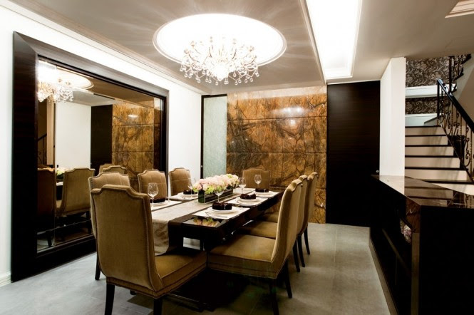 Sparkling chandeliers are a key element of this sophisticated look.
