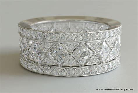 Diamond Vintage Art Deco Style Wedding Band Princess Cut