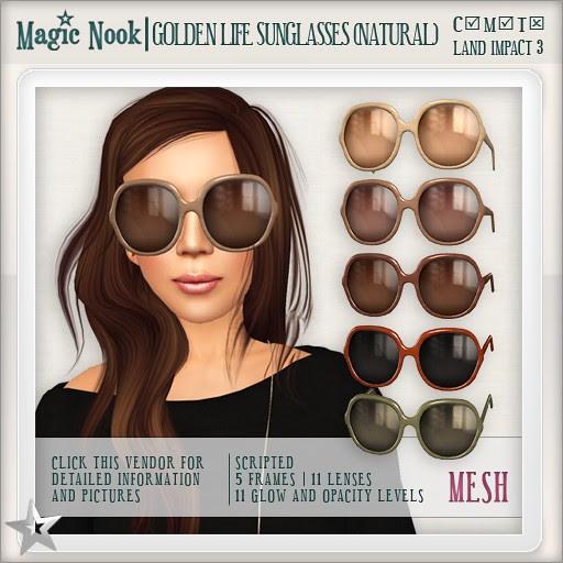 [MAGIC NOOK] Golden Life Sunglasses (Natural) MESH