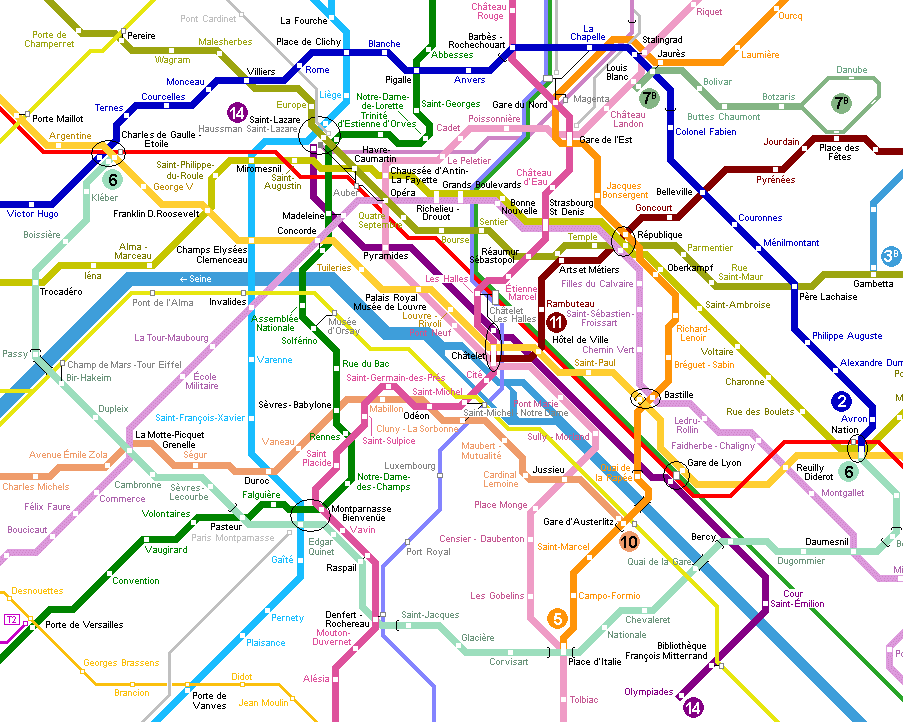 Paris Metro Map Click On Map To Expand To Full Size
