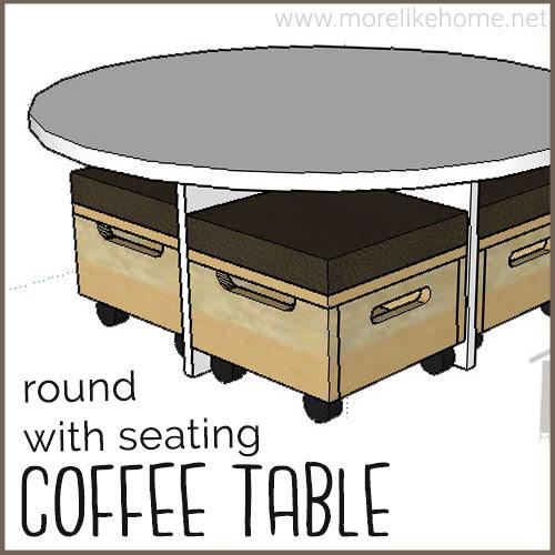 diy round coffee table building plans nesting ottoman storage seating modern minimalist