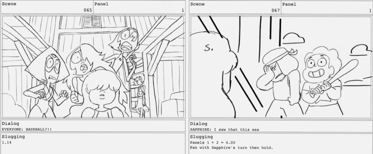 """Some storyboards from Hit the Diamond! Credit goes to supervising director Kat Morris for writing the line: """"This plan sucks."""""""