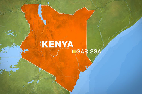 Kenya map on border with Somalia where four people have been reportedly killed in Garissa. The Kenyan Defense Forces have been occupied Somalia at the aegis of US imperialism since 2011. by Pan-African News Wire File Photos