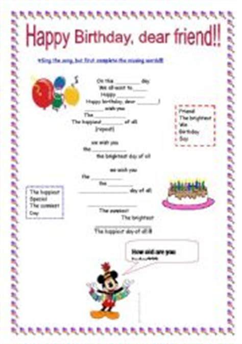 original happy birthday song esl worksheet