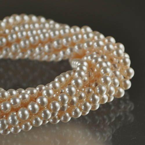 27758101000001 Swarovski Elements Pearl - 3 mm Round Pearl (5810) - Creamrose Pearl (strand 100)