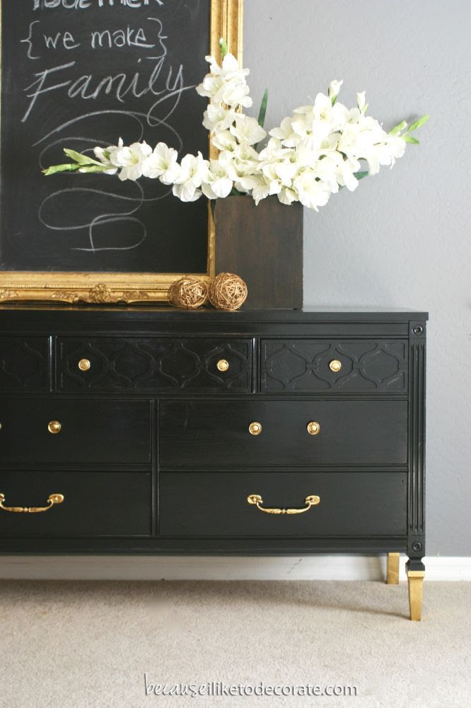 Mr. Bradley - A Classic Dresser  Black w/ gold knobs