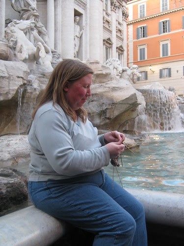 Knitting by the Trevi Fountain