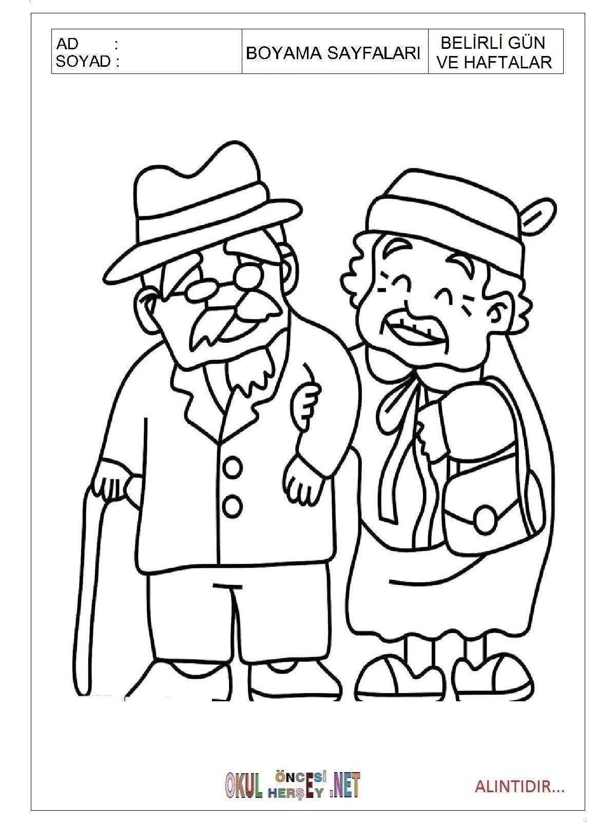Yaşlılar Haftası Boyama Sayfaları