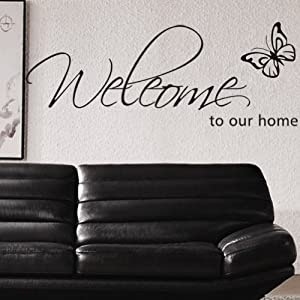 Amazon.com - Welcome to Our Home Quote Butterfly Vinyl Wall Decal ...
