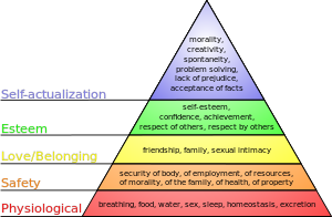 Diagram of w:Maslow's hierarchy of needs.